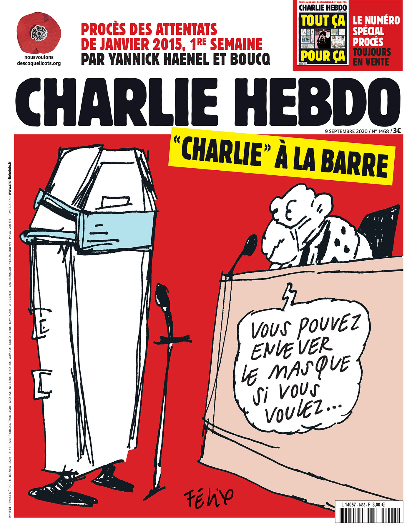 Charlie Hebdo n°1468 -- 9 septembre 2020 --- FÉLIX --- Charlie à la barre - Vous pouvez enlever le masque si vous voulez...