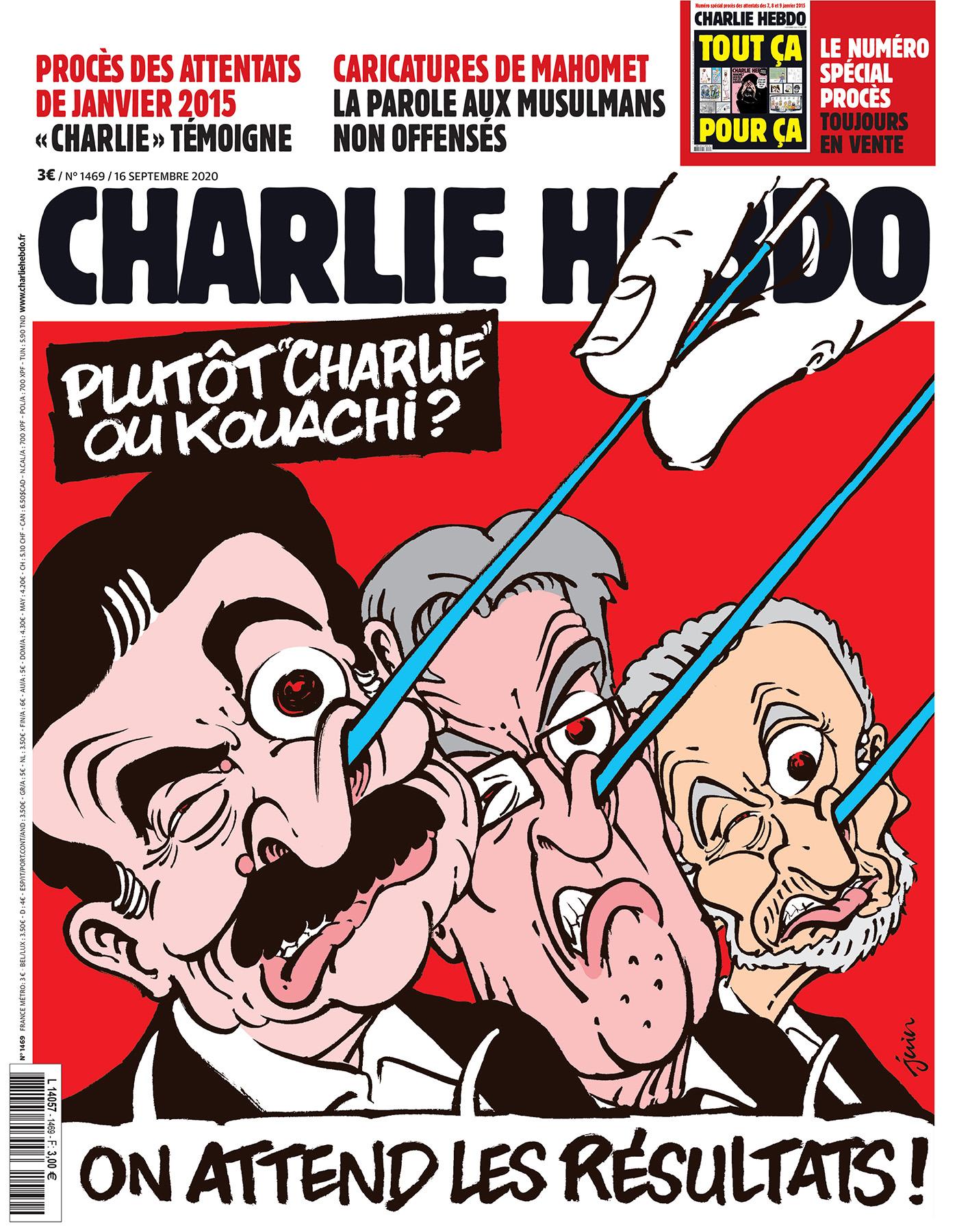 Charlie Hebdo n°1469 -- 16 septembre 2020 --- JUIN --- Plutôt Charlie ou Kouachi ?