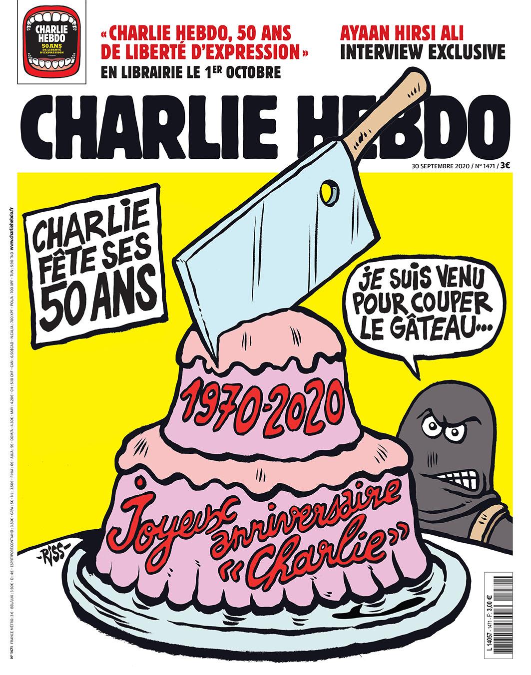 Charlie Hebdo n°1471 -- 30 septembre 2020 --- RISS --- Charlie Hebdo à 50 ans en plein procès des attentats de 2015