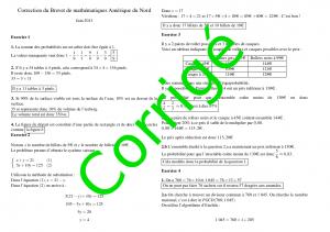 Sujet de mathématiques corrigé - Brevet 2013 Amérique du Nord