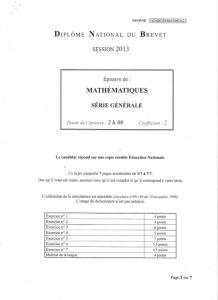 Brevet 2013 France - Sujet de mathématiques corrigé