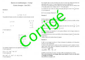 Brevet 2013 Centres étrangers - Mathématiques corrigés