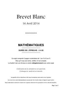 Brevet 2014 Blanc de mathématiques corrigé