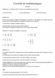 Controle de mathematiques troisieme PGCD fractions