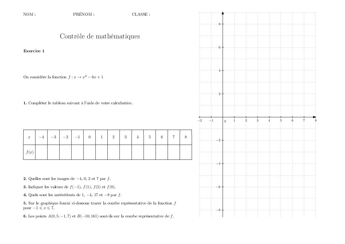 53d50051a9e Contrôle corrigé de mathématiques troisième   fonctions