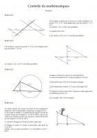 Contrôle de mathématiques corrigé sur le théorème de Thalès