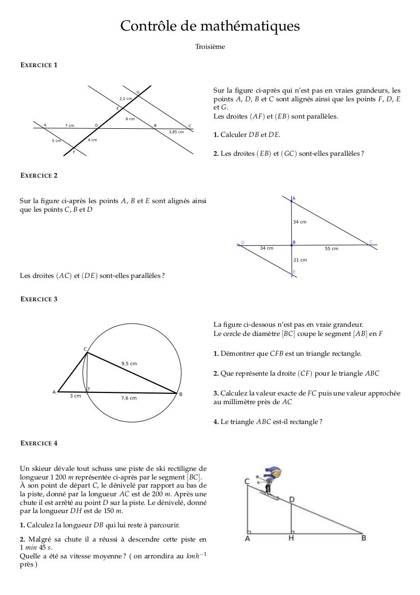 Mathématiques troisième : contrôle corrigé théorème de ...