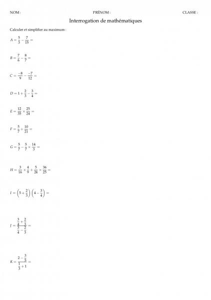 Fiche d'exercices corrigés sur les fractions pour la classe de mathématiques de quatrième