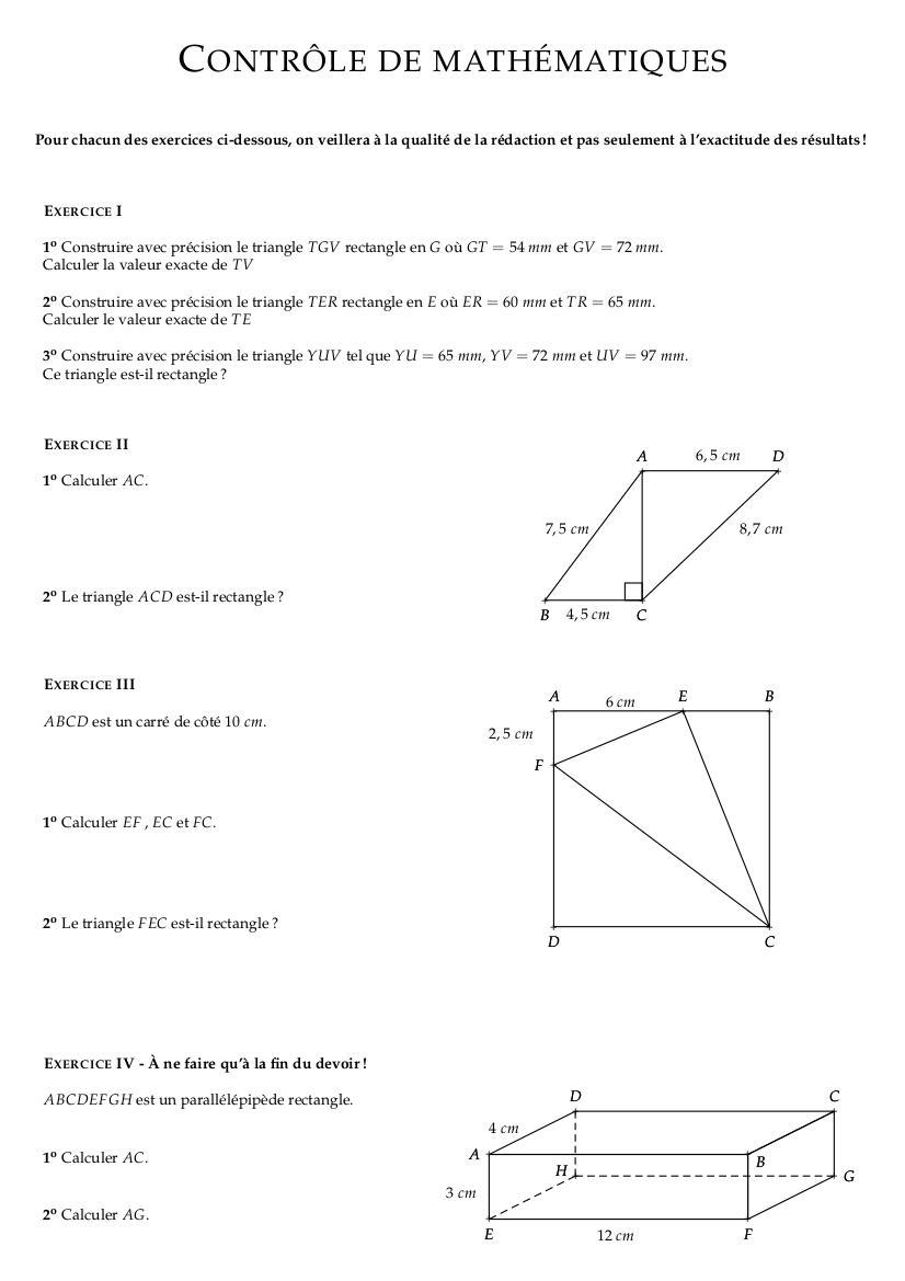 Maths du niveau quatrième 4ème Mathématiques